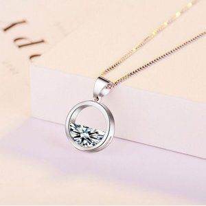 NEW 925 Sterling Silver Diamond Waterdrop Necklace